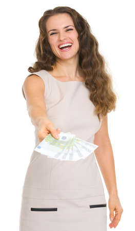 Smiling young woman giving fun of euro banknotes Stock Photo - 17382786
