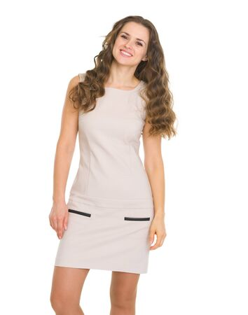 Portrait of happy young woman in dress Stock Photo - 17382840