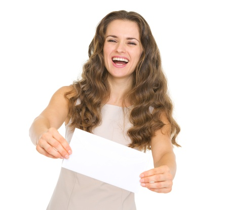 Happy young woman giving envelope Stock Photo - 17423284