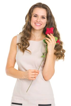Happy young woman with red rose Stock Photo - 17418534