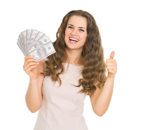 Happy young woman showing fun of dollars and thumbs up Stock Photo - 17418435