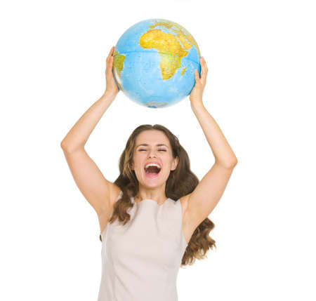 Happy young woman rising up globe Stock Photo - 17417805