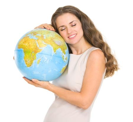 Happy young woman hugging globe Stock Photo - 17417883