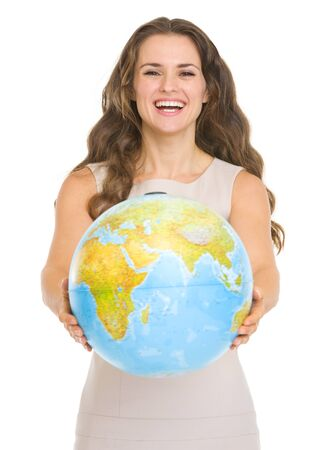 Happy young woman giving globe Stock Photo - 17417894