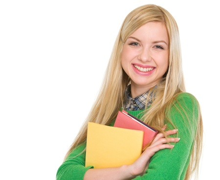 classbook: Portrait of smiling student girl with books Stock Photo
