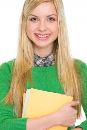 classbook: Portrait of happy student girl with books Stock Photo