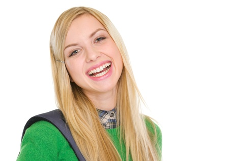Portrait of smiling student girl with backpack Stock Photo - 17418505
