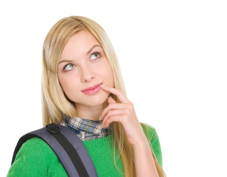 Thoughtful student girl with backpack Stock Photo - 17418510