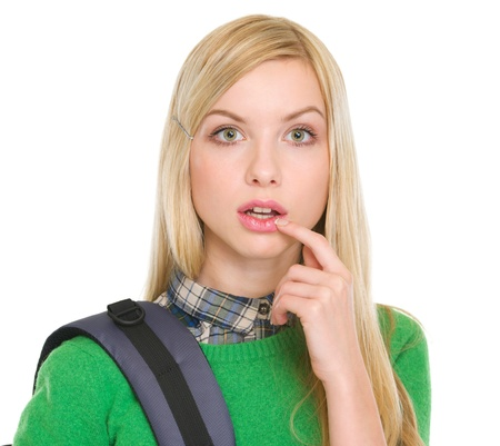 Surprised student girl with backpack Stock Photo - 17418442
