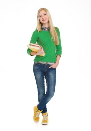 Full length portrait of student girl with books Stock Photo - 17417888