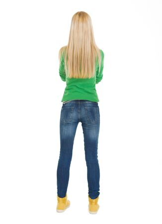 Student teenage girl. Rear view