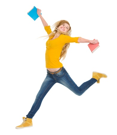 classbook: Happy student girl with books jumping