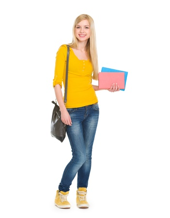self study: Full length portrait of teenage student girl with books Stock Photo