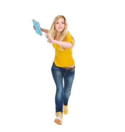 self exam: Teenage student girl with books running