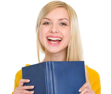 Portrait of smiling student girl with book Stock Photo - 17418437