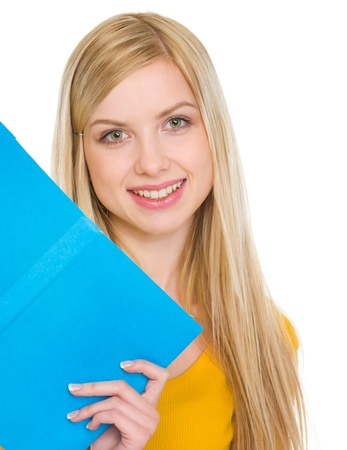 Portrait of happy student girl with book Stock Photo - 17418550