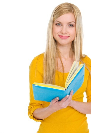 classbook: Portrait of smiling teenage student girl with book