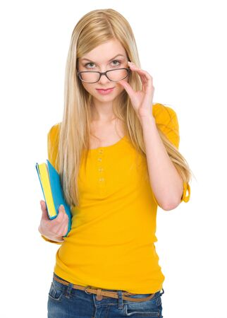 Portrait of student girl in glasses with book Stock Photo - 17418512
