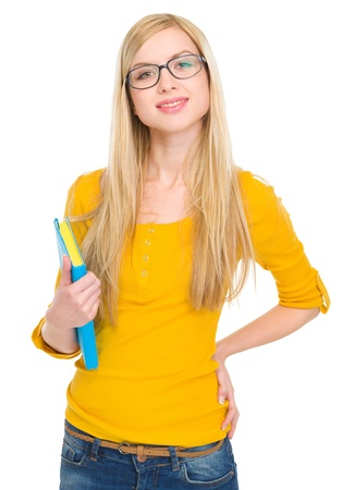 classbook: Portrait of happy student girl in glasses with book