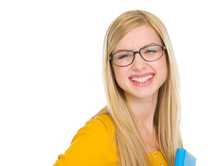 Portrait of smiling student girl in glasses with book Stock Photo - 17417882