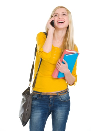 youthfulness: Happy student girl speaking mobile Stock Photo