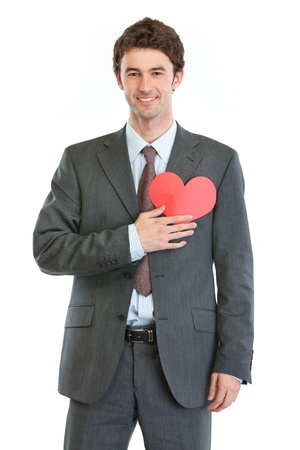 Modern man in business suit with heart shaped postcard Stock Photo - 17539064