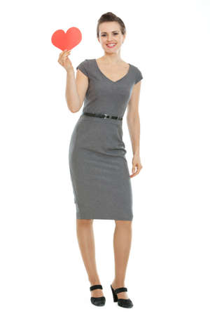 Full length portrait of modern woman holding paper heart Stock Photo - 17539065