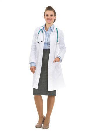 authoritative woman: Full length portrait of medical doctor woman