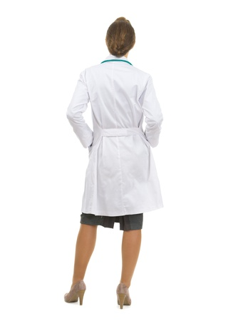 Full length portrait of medical doctor woman  Rear view Stock Photo