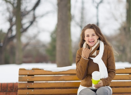 Smiling young woman sitting on bench in winter outdoors Stock Photo - 17797378