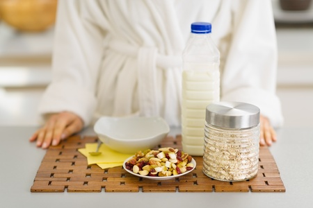 Closeup on healthy breakfast ready for young woman Stock Photo - 17800125