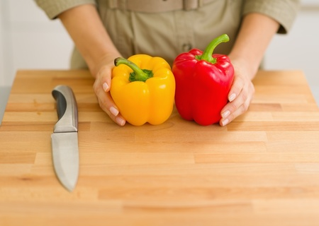 Closeup on fresh bell peppers on cutting board Stock Photo - 17800088