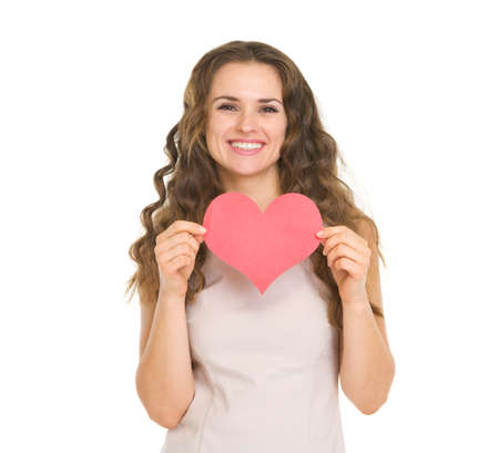 Happy young woman showing valentine's day cards Stock Photo - 17890555