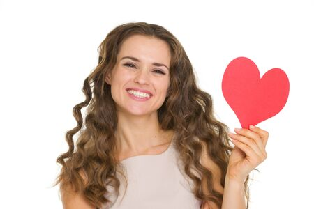Smiling young woman showing valentine's day cards Stock Photo - 17890630