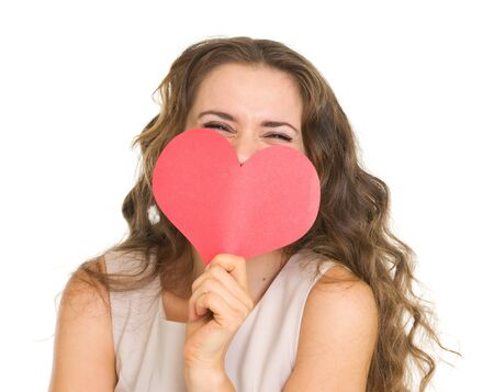 Young woman hiding valentine's day cards Stock Photo - 17890617