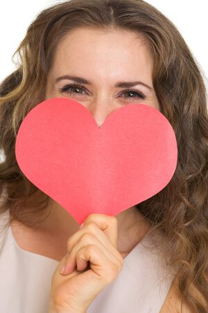 Closeup on young woman hiding valentine's day cards Stock Photo - 17890635