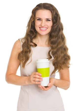 Smiling young woman with coffee cup Stock Photo - 17890634