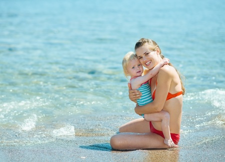 Portrait of mother and baby girl at seaside Stock Photo - 17933987