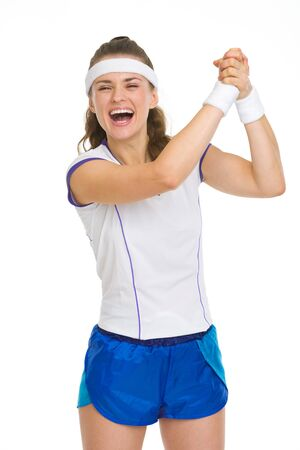 Happy female tennis player rejoicing success Stock Photo - 18059474