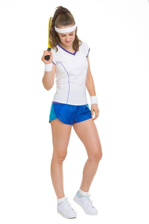Full length portrait of tennis player with racket Stock Photo - 18059399