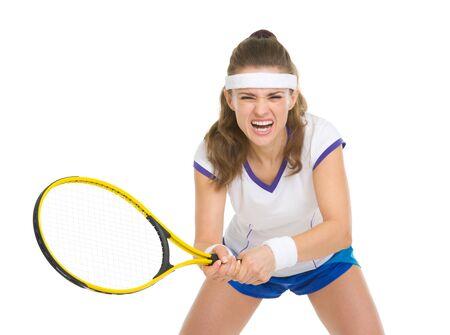 Tennis player during a fierce battle Stock Photo - 18059392