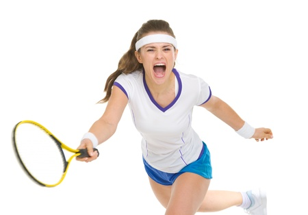 Raging tennis player hitting ball Stock Photo - 18059375