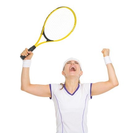 Happy tennis player rejoicing in success Stock Photo - 18059378