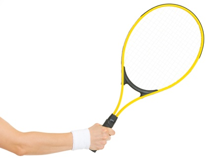tennis player: Closeup on hand with tennis racket
