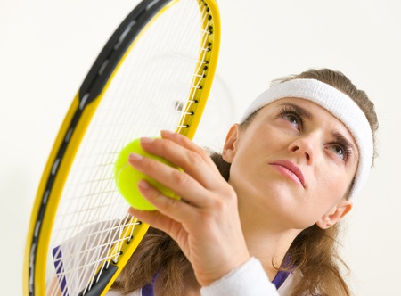 certitude: Portrait of tennis player ready to serve Stock Photo