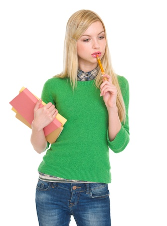 Portrait of thoughtful student girl with books Stock Photo - 18204773