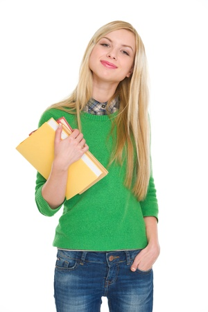 Portrait of happy student girl with books Stock Photo - 18204794