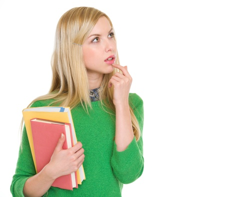 Portrait of thoughtful student girl looking on copy space Stock Photo - 18204768