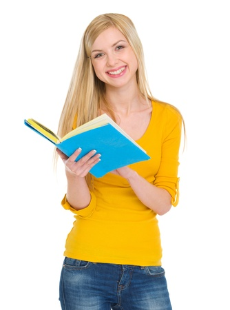 classbook: Smiling student girl reading book