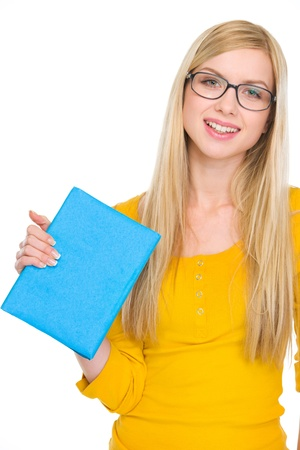 Portrait of happy student girl in glasses holding book Stock Photo - 18204797